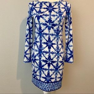 Michael Kors • Blue Pattern Long Sleeve Dress